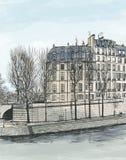 Ile St. Louis en París Foto de archivo