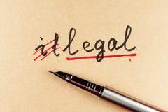 Ilegal a legal Fotos de archivo