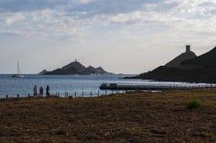Iles Sanguinaires, залив Аяччо, Корсики, Corse, Франции, Европы, острова Стоковые Изображения