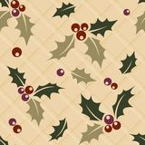 Ilex sprig seamless Christmas background Stock Images