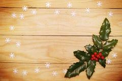 Ilex y copos de nieve de la hoja Imagen de archivo libre de regalías