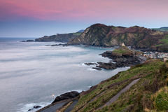 Ilfracombe Devon England. Dusk along the coast from Capstone Hill Ilfracombe, Devon England UK Royalty Free Stock Photo