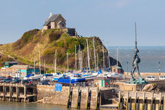 Ilfracombe Devon England. St Nicholas Chapel at the entrance to Ilfracombe Harbour Devon England UK Stock Images