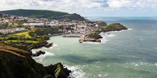 Ilfracombe Town Panoramic  from a High Viewpoint. Seaside town of Ilfracombe in North Devon, England. Panoramic view from high cliffs on the South West coast Stock Photo