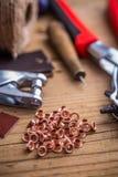 Ilhós e perfurador de bronze do ilhó Imagens de Stock Royalty Free