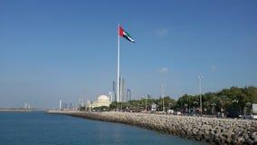 Ilha Abu Dhabi da bandeira Fotos de Stock Royalty Free