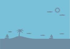 Ilha calma na ilustração do fundo do vetor do azul de oceano Imagens de Stock Royalty Free