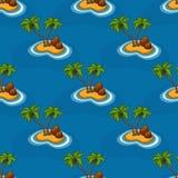 Ilha com as palmeiras no teste padrão do oceano Fotos de Stock Royalty Free