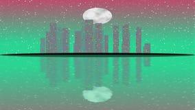 Ilha com shinning a cidade moderna dentro da noite da Lua cheia Arranha-céus da iluminação ilustração do vetor