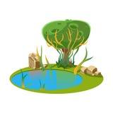 Ilha com um lago e uma árvore Ilustração do vetor Imagem de Stock Royalty Free