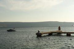 Ilha Cres no mar de adriático, Croácia Fotos de Stock