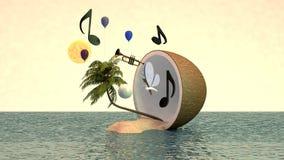 ilha 3d tropical no coco Imagens de Stock