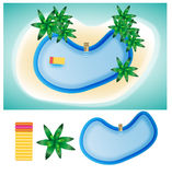 Ilha da piscina em elementos do verão Foto de Stock