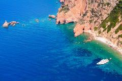 Ilha de Córsega, golfo de Porto Paisagem litoral imagem de stock