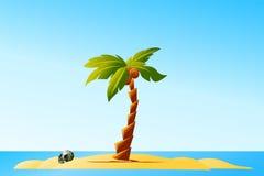 Ilha de deserto ilustração royalty free