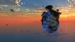Ilha de flutuação da fantasia ilustração stock