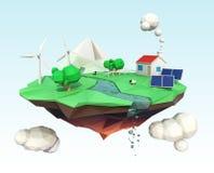 Ilha de flutuação para o conceito da ecologia Fotos de Stock Royalty Free