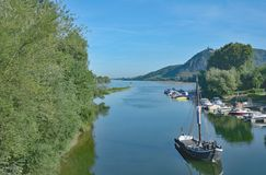 Ilha de Grafenwerth, Rhine River, Alemanha Fotografia de Stock Royalty Free