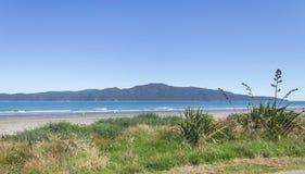 Ilha de Kapiti da praia de Paraparaumu na costa do ` s Kapiti de Wellington de Nova Zelândia imagem de stock royalty free