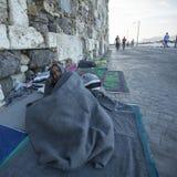 A ilha de Kos é ficada situada apenas 4 quilômetros da costa turca, e muitos refugiados vêm de Turquia no barcos infláveis Fotografia de Stock Royalty Free