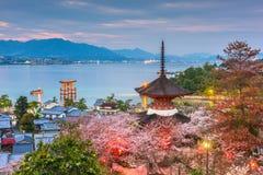 Ilha de Miyajima, Hiroshima, Japão na mola imagem de stock