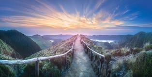 Ilha de Ponta Delgada da paisagem da montanha, Açores Fotos de Stock Royalty Free