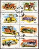 Ilha de selos postais de Staffa de carros do vintage ilustração stock
