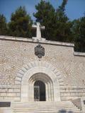 Ilha de Vido, Corfu, mausoléu sérvio do ` dos soldados da Primeira Guerra Mundial Imagens de Stock
