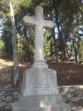 Ilha de Vido, Corfu, monumento transversal de pedra Foto de Stock Royalty Free
