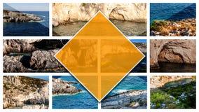 Ilha de Zakynthos das fotos da colagem - Grécia, no formato do 16:9 fotos de stock