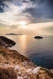 Ilha do Hydra no por do sol em Grécia Foto de Stock