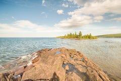 A ilha do porteiro, o Lago Superior, parque do ponto dos caçadores, porto de cobre, MI foto de stock royalty free