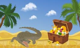Ilha do tesouro com as moedas da caixa e de ouro e a ilustra??o do vetor da bandeira da joia Acess?rios caros tais como a coroa ilustração do vetor