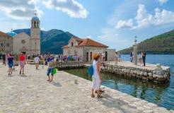Ilha do Virgin na ilha de Gospa od Skrpela do recife na baía de Kotor, Perast, Montenegro Fotografia de Stock Royalty Free