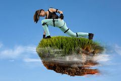 Ilha do voo Realidade virtual do subtítulo do movimento imagem de stock royalty free