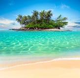 A ilha e a areia tropicais encalham o fundo exótico do curso