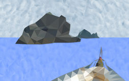 Ilha e barco do polígono no oceano Fotografia de Stock