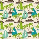 Ilha e barcos das palmeiras ilustração stock