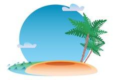 Ilha e palma tropicais do mar do fundo do recurso Foto de Stock