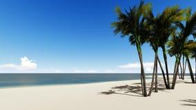 Ilha exótica tropical na metragem do oceano Palmeiras de balanço no vento, animação realística da brisa Paradise abandonou video estoque