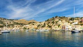 Ilha grega mágica de Symi foto de stock
