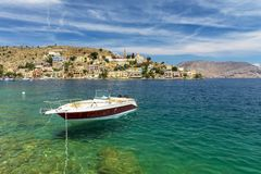 Ilha grega mágica de Symi imagem de stock