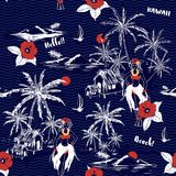 Ilha havaiana da menina do verão bonito teste padrão sem emenda na onda ilustração do vetor