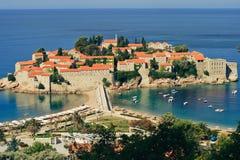 Ilha-hotel do recurso de Sveti Stefan em Montenegro Imagem de Stock Royalty Free