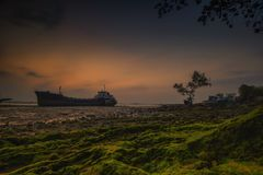 Ilha Indonésia Ásia de Wonderfull Sunset2 Batam Fotografia de Stock