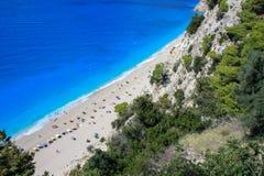 A ilha lefkada perdeu a praia Egremni fotografia de stock royalty free