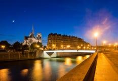 A ilha menciona com catedral Notre Dame de Paris Fotografia de Stock Royalty Free
