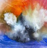 Ilha moderna da arte contemporânea do óleo do sumário nas nuvens imagem de stock