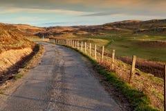 Ilha Mull, estrada secundária no por do sol Imagens de Stock Royalty Free