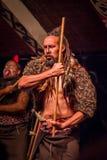 ILHA NORTE, ZEALAND NOVO 17 DE MAIO DE 2017: Homem de Takami Maori com a cara tradicionalmente tatooed no vestido tradicional em  Foto de Stock Royalty Free